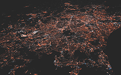 aerial image of a city with lights