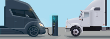 Electric truck at charging station and semi-truck