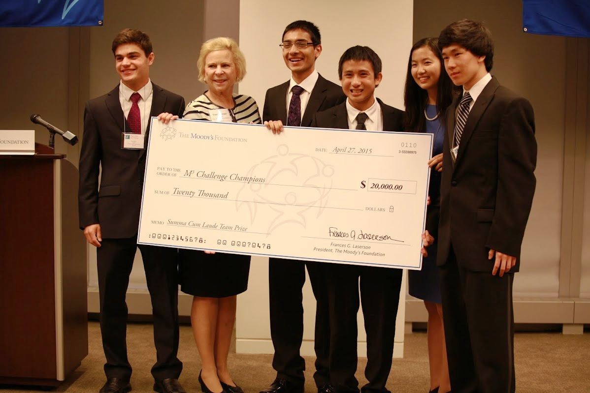 The Champion team from North Carolina School of Science and Mathematics:  Left to Right: Guy Blanc, Moody's Foundation President Fran Laserson, Sandeep Silwal, Michael An, Jenny Wang, and Evan Liang